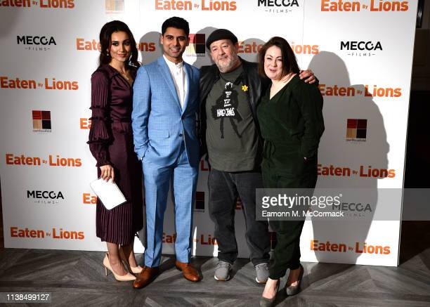 """Shila Iqbal, Antonio Aakeel, Johnny Vegas and Sarah Hoare attend the """"Eaten By Lions"""" UK premiere at The Courthouse Hotel on March 26, 2019 in..."""