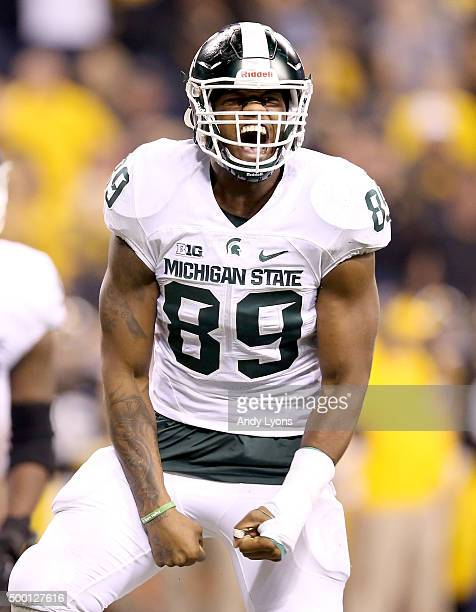 Shilique Calhoun of the Michigan State Spartans celebreates after making a play against the Iowa Hawkeyes in the Big Ten Championship at Lucas Oil...