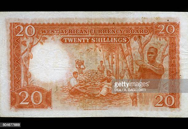 20 shilling banknote reverse depicting workers in a field Nigeria 20th century