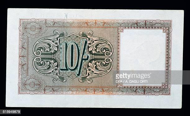 10 shillings banknote British occupation in Italy reverse United Kingdom 20th century