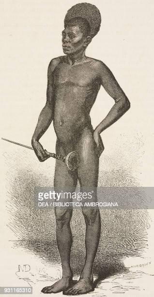 Shilluk man drawing by Diogene Maillard from Heart of Africa Three years' travels and adventures in the unexplored regions of Central Africa 18681871...