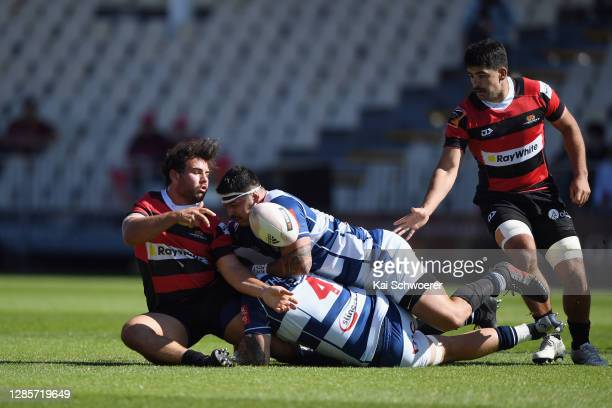 Shilo Klein of Canterbury is tackled during the round 10 Mitre 10 Cup match between Canterbury and Auckland at Orangetheory Stadium on November 15,...