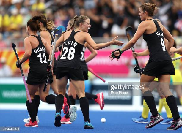 Shiloh Gloyn of New Zealand celebrates after scoring her teams first goal during the Women's Gold Medal match between Australia and New Zealand...