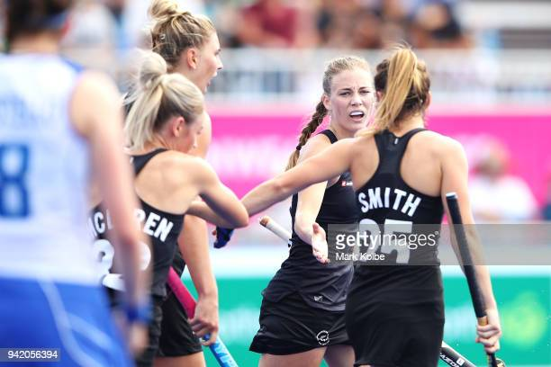 Shiloh Gloyn of New Zealand celebrates scoring a goal during the Pool B Hockey match between New Zealand and Scotland on day one of the Gold Coast...