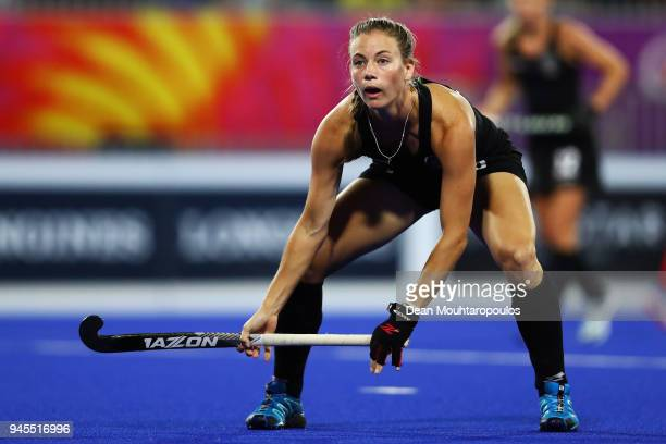 Shiloh Gloyn of New Zealand in action during Women's Semifinal hockey match between England and New Zealand on day eight of the Gold Coast 2018...