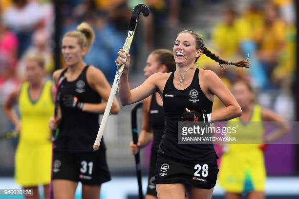 Shiloh Gloyn of New Zealand reacts after scoring a goal against Australia during their women's field hockey gold medal match of the 2018 Gold Coast...