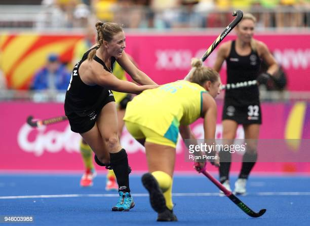 Shiloh Gloyn of New Zealand scores her teams first goal during the Women's Gold Medal match between Australia and New Zealand during Hockey on day 10...