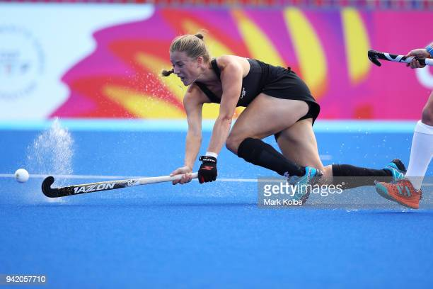 Shiloh Gloyn of New Zealand shoots at goal during the Pool B Hockey match between New Zealand and Scotland on day one of the Gold Coast 2018...