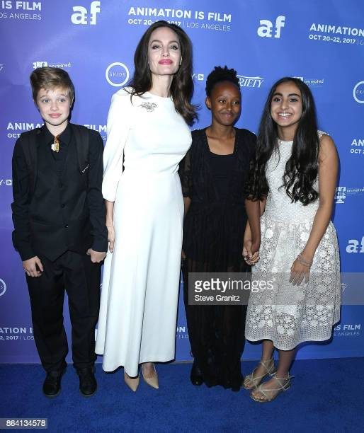 Shiloh JoliePitt Angelina Jolie and Zahara JoliePittSaara Chaudry arrives at the Premiere Of Gkids' 'The Breadwinner' at TCL Chinese 6 Theatres on...