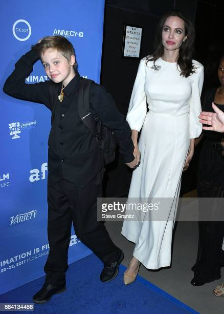 Shiloh JoliePitt Angelina Jolie arrives at the Premiere Of Gkids' 'The Breadwinner' at TCL Chinese 6 Theatres on October 20 2017 in Hollywood...