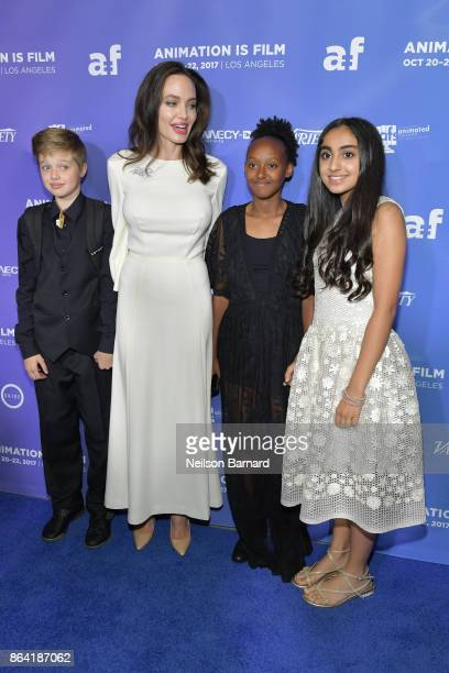 Shiloh JoliePitt Angelina Jolie Zahara JoliePitt and Saara Chaudry attend the premiere of Gkids' 'The Breadwinner' at TCL Chinese 6 Theatres on...