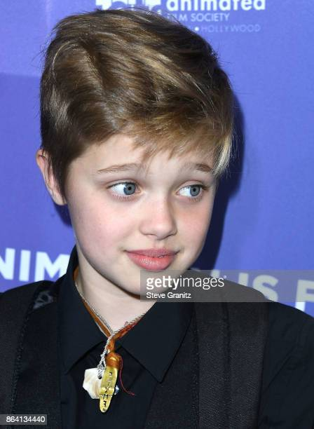 Shiloh JoliePitt arrives at the Premiere Of Gkids' 'The Breadwinner' at TCL Chinese 6 Theatres on October 20 2017 in Hollywood California