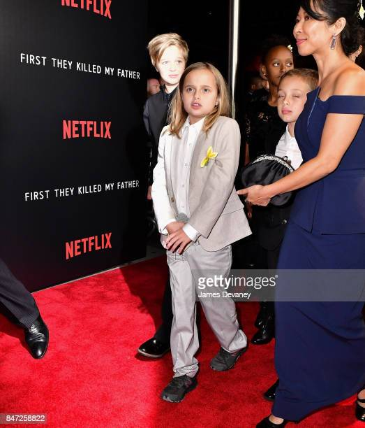 Shiloh JoliePitt Vivienne JoliePitt Zahara JoliePitt and Knox Leon JoliePitt arrive to the DGA Theater for the New York premiere of 'First They...