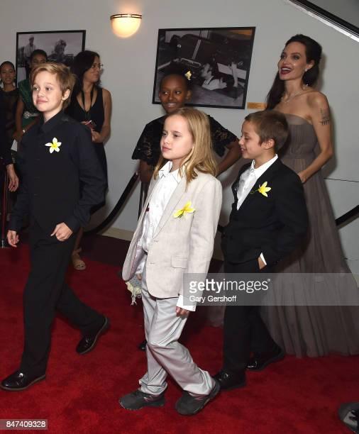 Shiloh JoliePitt Vivienne JoliePitt Zahara JoliePitt Knox Leon JoliePitt and Angelina Jolie attend the First They Killed My Father New York premiere...