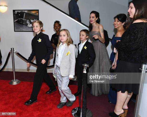Shiloh JoliePitt Zahara JoliePitt Vivienne JoliePitt and Knox Leon JoliePitt attend the First They Killed My Father New York Premiere on September 14...