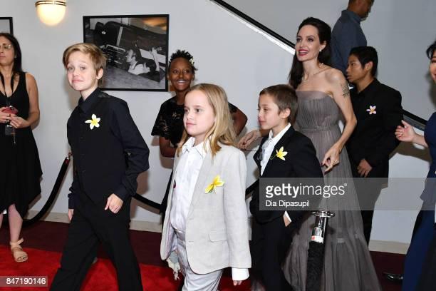 Shiloh JoliePitt Zahara JoliePitt Vivienne JoliePitt Knox Leon JoliePitt Angelina Jolie and Pax Thien JoliePitt attend the First They Killed My...