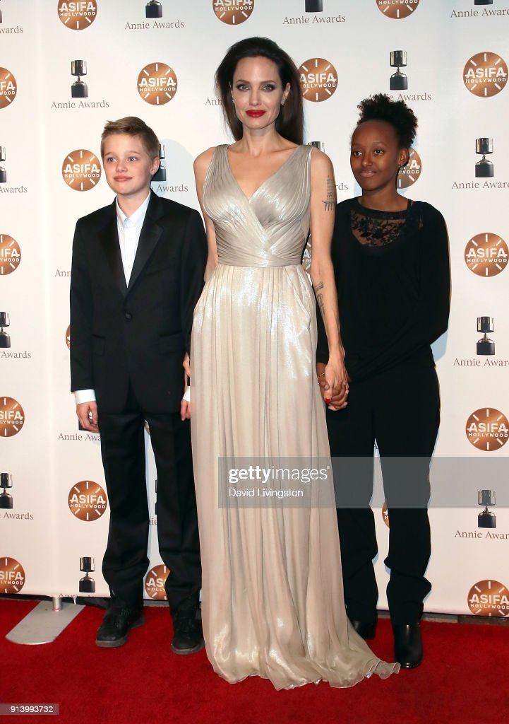 Shiloh Nouvel Jolie-Pitt, actress Angelina Jolie and Zahara Marley Jolie-Pitt attend the 45th Annual Annie Awards at Royce Hall on February 3, 2018 in Los Angeles, California.