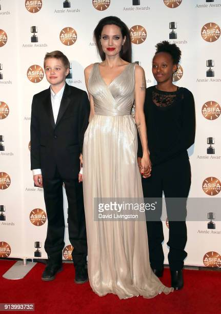 Shiloh Nouvel Jolie-Pitt, actress Angelina Jolie and Zahara Marley Jolie-Pitt attend the 45th Annual Annie Awards at Royce Hall on February 3, 2018...