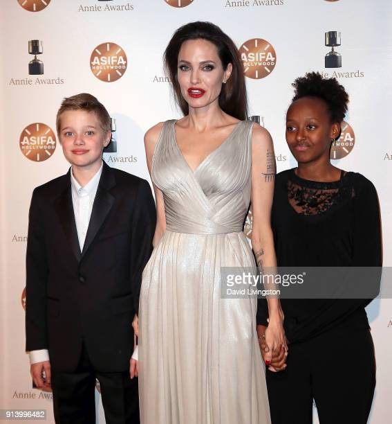 Shiloh Nouvel JoliePitt actress Angelina Jolie and Zahara Marley JoliePitt attend the 45th Annual Annie Awards at Royce Hall on February 3 2018 in...