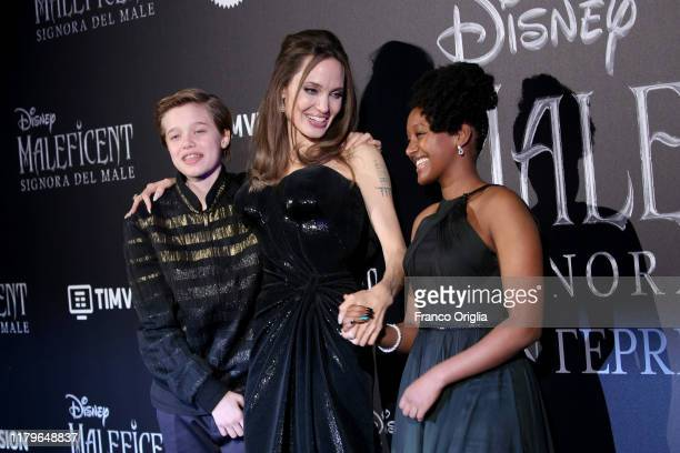 Shiloh Nouvel JoliePitt Angelina Jolie and Zahara Marley JoliePitt attend the European premiere of the movie Maleficent – Mistress Of Evil at...