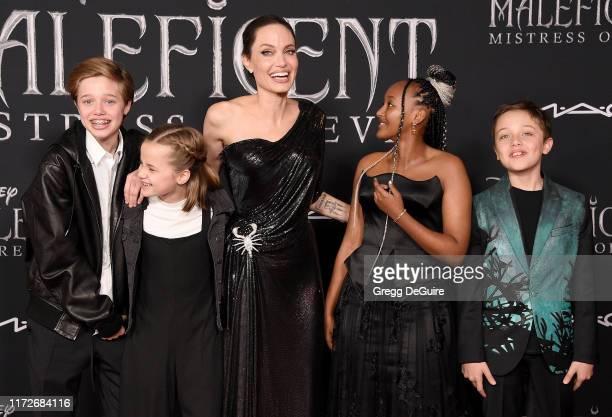 Shiloh Nouvel Jolie-Pitt, Vivienne Marcheline Jolie-Pitt, Angelina Jolie, Zahara Marley Jolie-Pitt, and Knox Leon Jolie-Pitt arrive at the World...