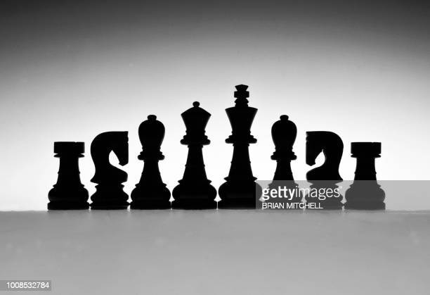 Shilouetted Chess pieces, black & white, abstract design