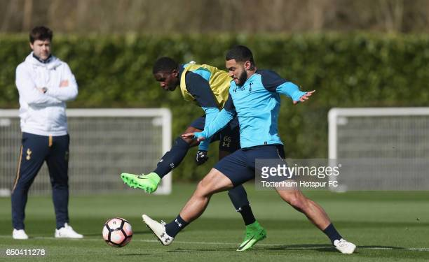 Shilow Tracey and Cameron Carter-Vickers of Tottenham during the Tottenham Hotspur training session at Tottenham Hotspur Training Centre on March 9,...