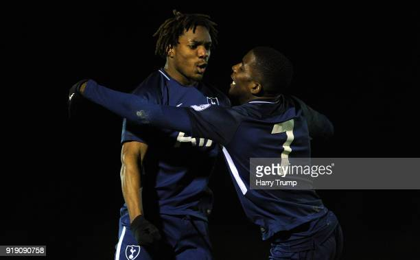 Shilow Tracey and Kazaiah Sterling of Tottenham Hotspur celebrate as Kazaiah Sterling of Tottenham Hotspurscors his sides second goal during the...