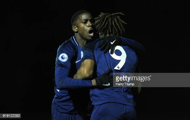 Shilow Tracey and Kazaiah Sterling of Tottenham Hotspur celebrate as Kazaiah Sterling of Tottenham Hotspur scores his sides second goal during the...