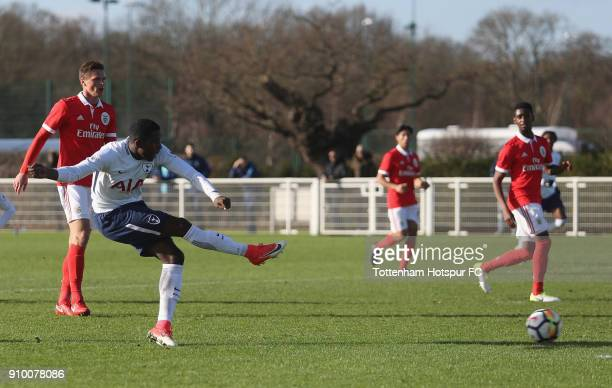 Shilow Tracey of Spurs score their first goal during the Premier League International Cup match between Tottenham Hotspur U23 and SL Benfica U23 at...