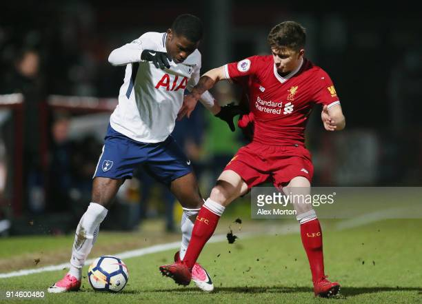 Shilow Tracey of Tottenham and Adam Lewis of Liverpool during the Premier League 2 match between Tottenham Hotspur and Liverpool at The Lamex Stadium...