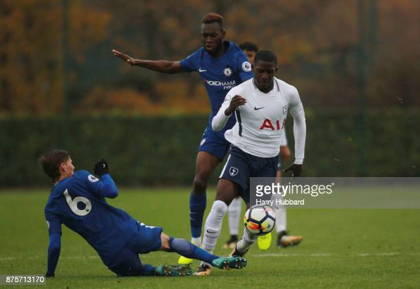Shilow Tracey of Tottenham Hotspur and Kyle Scott of Chelsea in action during a Premier League 2 match between Tottenham Hotspur and Chelsea at...