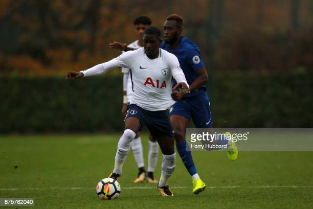 Shilow Tracey of Tottenham Hotspur and Martell TaylorCrossdale of Chelsea in action during a Premier League 2 match between Tottenham Hotspur and...