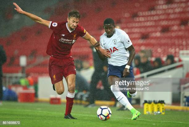 Shilow Tracey of Tottenham Hotspur beats Nathaniel Phillips of Liverpool during the Premier League 2 match between Liverpool and Tottenham Hotspur at...