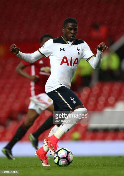 Shilow Tracey of Tottenham Hotspur controls the ball during the Premier League 2 match between Manchester United and Tottenham Hotspur at Old...