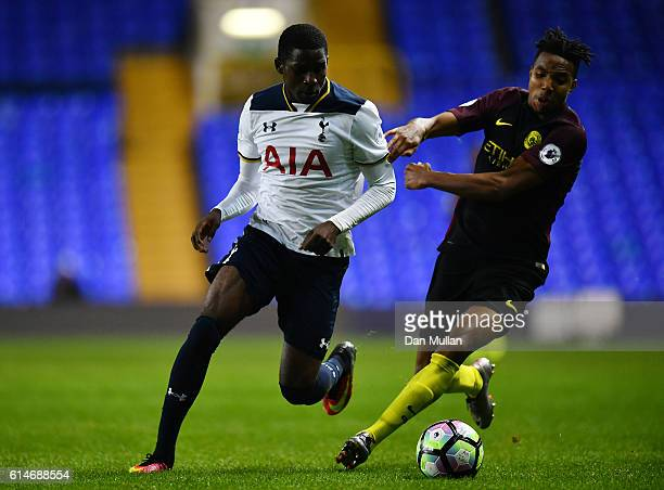 Shilow Tracey of Tottenham Hotspur holds off Demeaco Duhaney of Manchester City during the Premier League 2 match between Tottenham Hotspur and...