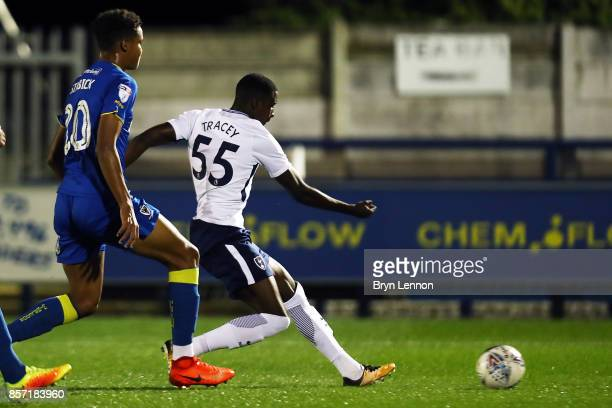 Shilow Tracey of Tottenham Hotspur scores during the Checkatrade Trophy match between AFC Wimbledon and Tottenham Hotspur U21 at The Cherry Red...