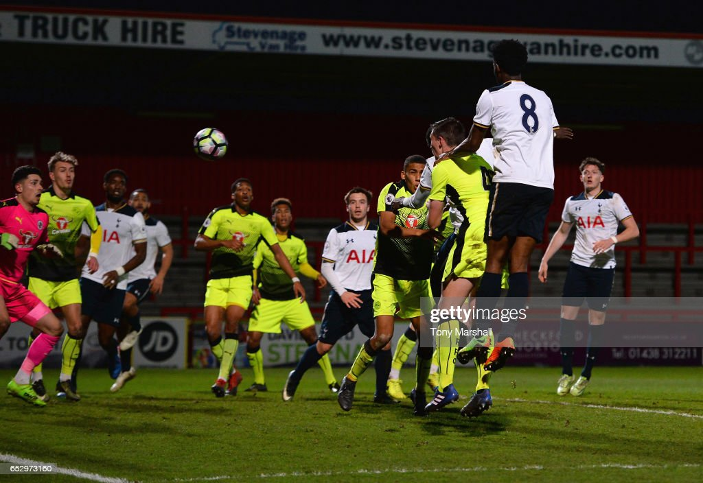Shilow Tracey of Tottenham Hotspur scoring their fourth goal during the Premier League 2 match between Tottenham Hotspur and Reading at The Lamex Stadium on March 13, 2017 in Stevenage, England.