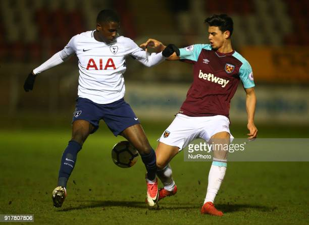 LR Shilow Tracey of Tottenham Hotspur U23s and Joe Powell of West Ham United U23s during Premier League 2 Division 1 match between West Ham United...