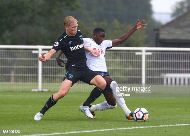 Shilow Tracey of Tottenham Hotspur Under 23s holds of Alex Pike of West Ham United Under 23s during Premier League 2 Div 1 match between Tottenham...