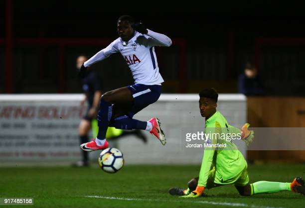 Shilow Tracey of Tottenham scores his sides second goal past Nathan Trott of West Ham during the Premier League 2 match between West Ham United and...