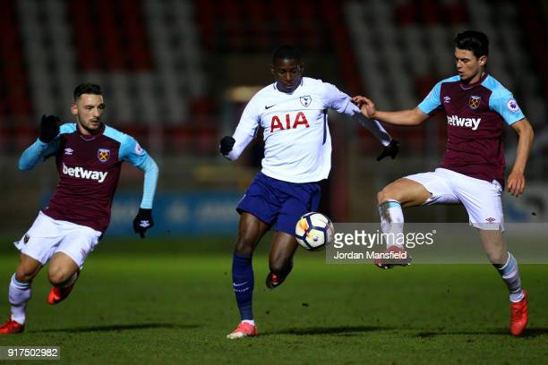 Shilow Tracey of Tottenham tackles with Joe Powell and Sead Haksabanovic of West Ham during the Premier League 2 match between West Ham United and...