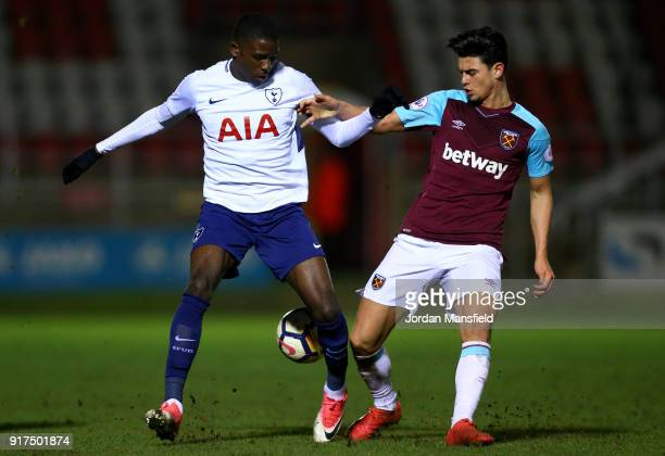 Shilow Tracey of Tottenham tackles with Joe Powell of West Ham during the Premier League 2 match between West Ham United and Tottenham Hotspur at...