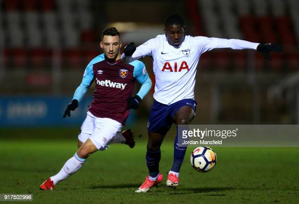 Shilow Tracey of Tottenham tackles with Sead Haksabanovic of West Ham during the Premier League 2 match between West Ham United and Tottenham Hotspur...