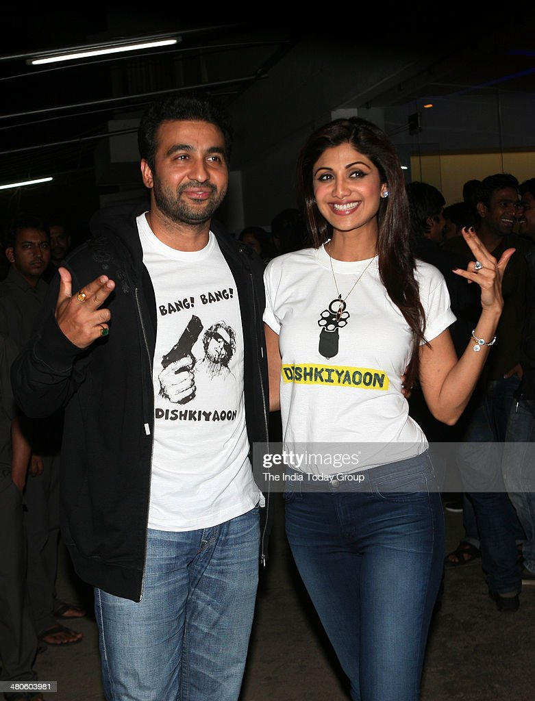 Shilpa Shetty and Raj Kundra at the screening of the movie Dishkiyaaoon in Mumbai.