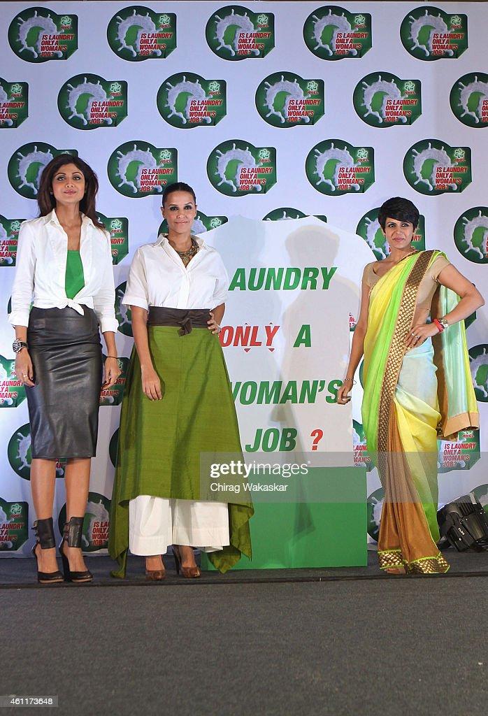 Shilpa Shetty Kundra Neha Dhupia and Mandira Bedi attend PG`s press conference at Hotel Palladium on January 8 2015 in Mumbai India