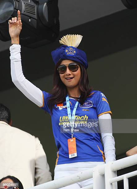 Shilpa Shetty of Rajasthan Royals waves during the IPL T20 match between Mumbai Indians and Chennai Super Kings at Newlands Cricket Ground on April...