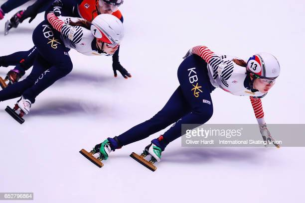 Shim Suk Hee of Korea competes in the Ladies 1000m semi finals race during day two of ISU World Short Track Championships at Rotterdam Ahoy Arena on...
