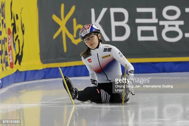 Shim SukHee of South Korea falls in Ladies 1000m Final A during the Audi ISU World Cup Short Track Speed Skating at Mokdong Ice Rink on November 19...