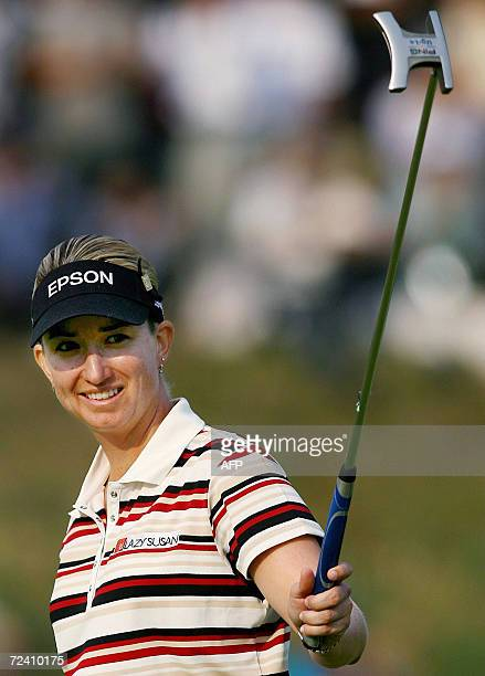 Karrie Webb of Australia reacts after her winning putt in the 18th hole at the 12 million USD USLPGA Tour Mizuno Classic Golf tournament in Shima...
